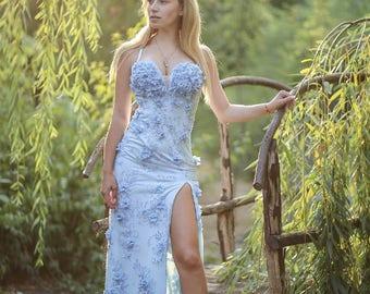 Sky-blue bustier dress