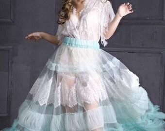 Menthol tulle transparent  bridal Overskirt for dress, mint overskirt for bridal dress, transperent overskirt, tirquoise overskirt .