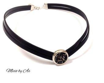 Micio by have black leather and swarovski necklace