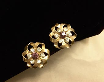 Vintage Gold-tone Bow Purple and White Rhinestone Screw Back Earrings