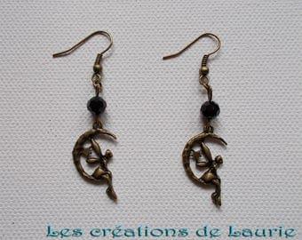 Earrings fairy on Moon bronze, black faceted bead