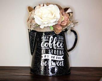 vintage coffee pot, flowers, coffee pot