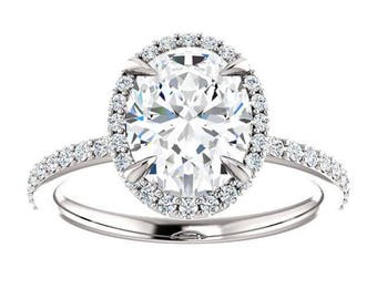 Forever One Moissanite Engagement Ring- Flora   oval   minimalist moissanite halo engagement ring