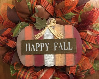 Happy Fall Deco Mesh Wreath, Autumn Wreath, Fall Wreath, Pumpkin Wreath