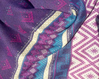 Inca Maya Aztec Indian Tribal Scarf Purple Navy Blue Pink Womens Scarf Ethnic Scarf Geometrical Scarves Purple Pashmina Shawl Winter Scarves