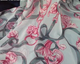 Grey Pink Scarf Grey Pink  Shawl Grey Pink Scarves Hijab Wrap Bandana Mothers Gift For Her Vintage Flowers Shawl Vintage Scarf Pink Flowers
