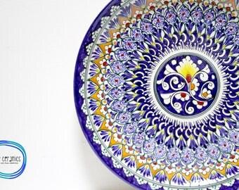 Handmade uzbek decorative ceramic saucer