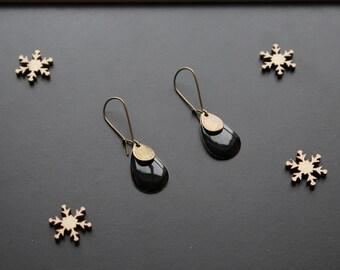 Ethnic earring, black sequin drop shape