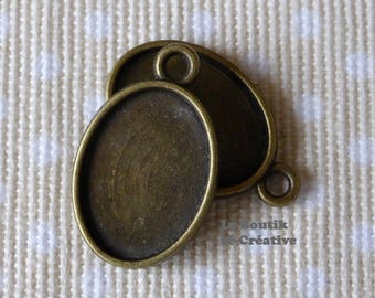 1 x medium cabochon cameo 18 x 13 mm antique bronze metal