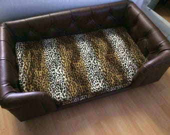 Dog Bed Cheetah Print Brown Faux Leather Large