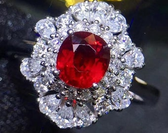 "Natural Vivid Red ""Pigeon Blood"" Tanzania Ruby Origin AAA+ Faceted 5.7 x 5.3 x 3.8 MM Diamond 18K White Gold Ruby Engagement Ring"
