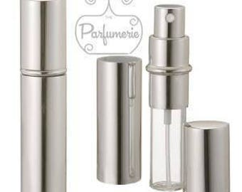 Set of 4: 12 ml. Silver SHINY METALLIC Sleek Spray Atomizer Perfume Cologne Refillable Travel Size Wholesale Bottle Empty