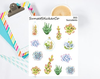 Succulents Clipart Stickers (D55)