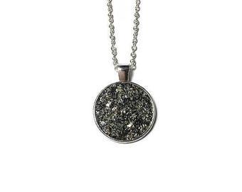 Druzy pendant, Druzy necklace, Druzy jewelry, gunmetal, under 20 dollars, medallion, geode pendant, geode necklace, geode jewelry, drusy