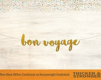 Bon Voyage Banner, Script Font - Going Away Party, Retirement Party, Travel Party, Farewell Party, Farewell Banner