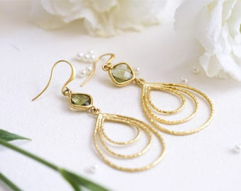 Gold and green earrings, Teardrop dangle earrings, Gold teardrop earrings, Green earrings, Green drop earrings, Green dangle earrings