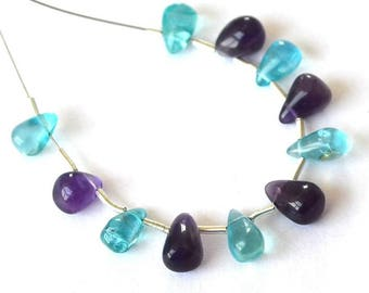 Beautiful set of 11 briolettes of Apatite and Amethyst