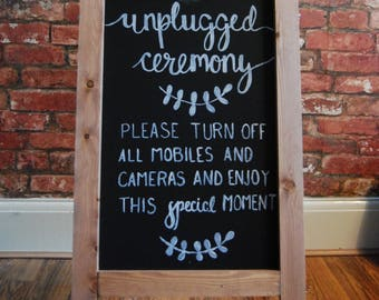 Bespoke & Hand Drawn 'Unplugged Ceremony' Chalkboard Sign | Unplugged Wedding | Unplugged Ceremony Sign | Wedding Signs