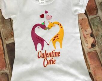 Girls' Valentine Cutie Giraffe Cap Sleeve Tee