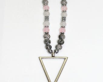 Triangle necklace, Bead necklace, Triangle pendant, Geometric pendant, Pendant necklace, Long necklace, Geometric necklace, Women necklace