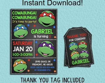 Ninja Turtle Invitation, Teenage Mutant Ninja Instant Download, Ninja Turtles Party Party, Editable PDF Template, TMNT Ninja Thank You Tags