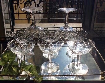 Set of 8 French vintage cut glass coupè champagne glasses