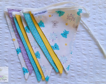 Blue, yellow and purple colourful vintage inspired koala fabric bunting / pennant flags nursery wall decor