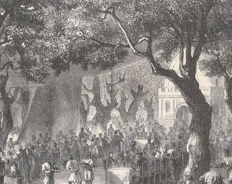 Algeria 1862, Banquet Offered By The Railway Company Of Algiers In The Olive Wood At Blida, Old Antique Vintage Engraving Art Print, Forest