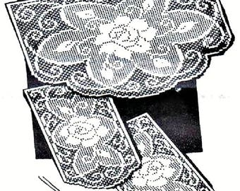 PDF Filet Crochet Pattern, Floral Roses,Chair Back Set With Arm Rests
