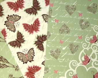 """set of 4 sheets of A4 reversible """"birthday"""" card stock paper"""