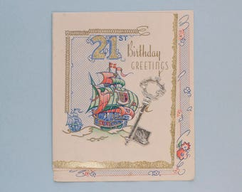 Vintage Foil 21st Birthday Card