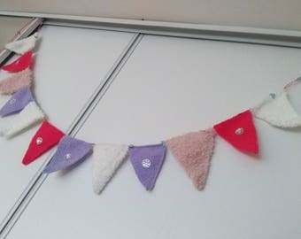 Knitted purple pink White hand decorated with bright Bunting