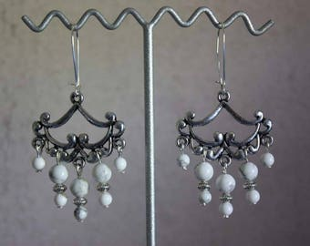 Stones, gems and Silver earrings.
