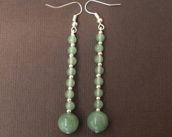 Aventurine 1-gemstone earrings