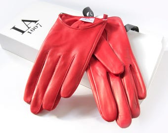 FREE SHIPPING, red real leather women gloves, red leather glove, women red gloves, fashion gloves