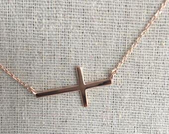 Sided Cross Sideway Dainty Cross Necklace Minimalist Jewelry