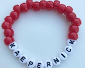 Kaepernick Bracelet, Bead Bracelet, Handmade, Colin Kaepernick, Take A Knee, Activist Support