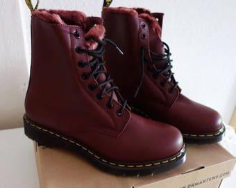Doc Martens Boots Size 8 Burgundy Fau Faux