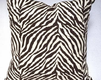Brown Zebra Print Throw Pillow