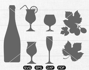 Red wine SVG, Wine cup, Bottle, Grape svg Clipart, cricut, silhouette cut files commercial use