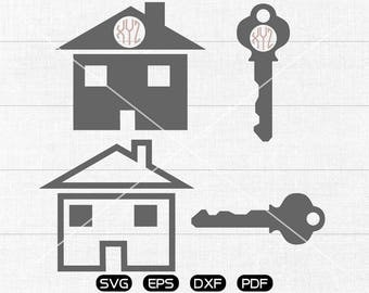 Home & Key SVG Files, Home Monogram Frame svg, key Clipart, cricut, cameo, silhouette cut files commercial  personal use