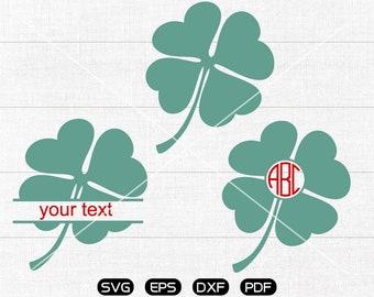 Saint Patricks Day Svg, Clover svg, shamrock svg, Four Leaf Clipart, Monogram Frame cricut, cameo, silhouette cut files commercial use
