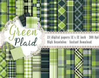24 Green Plaid Pattern Digital Papers in 12 x 12 inch 300 Dpi Instant Download, Scrapbook Papers, Tartan, Gingham, Check, Commercial Use