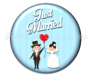 1 blue text, just married, married, 30mm glass cabochon