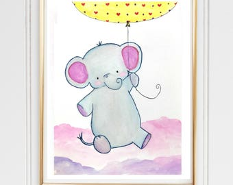 Baby Elephant holding a Balloon, Animal Nursery Print, Nursery Decor, Animal Nursery Decor, Baby Room Decor, Cute Baby Elephant