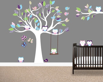 Girl's room wall decals, Owl tree wall decal,  Girl's nursery decals, Owl stickers, Birds, Purple, Green, Blue, Baby girl wall decals, Baby