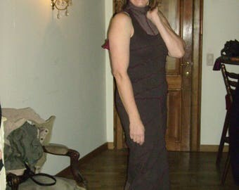 Dress long Turtleneck Black Cotton Jersey - size M
