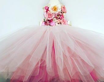 Girls flowergirl tutu dress, Unicorn tutu dress, pink flower tutu dress.Fairy tutu costume. Bridesmaid,Birthday tutu, princess tutu