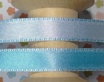 Blue satin ribbon reversible