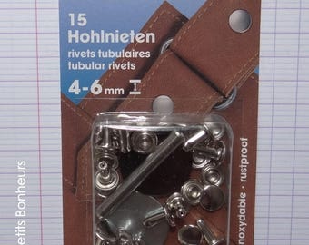 15 silver rivets, height 4-6 mm - Prym - (403 151) fabric